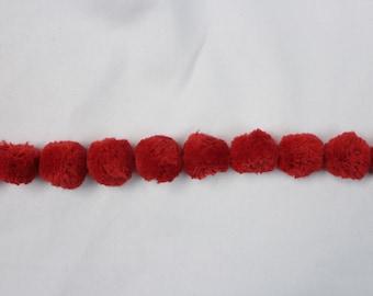 Red PopPom Rope - Decorative Trim 863