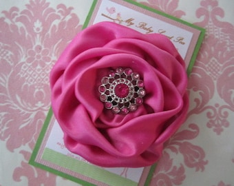 Girl hair clips - flower hair clips - girl barrettes - pink flower hair clips