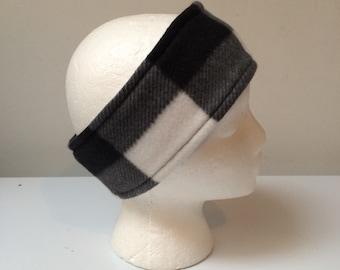 Black and white checkered reversible fleece ear warmer headband, fleece headband, winter ski headband ear warmer.