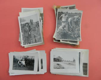 Lot Of 50 Vintage Black White Snapshots Photographs: Portraits People Land City 1930s - 1950s - #9