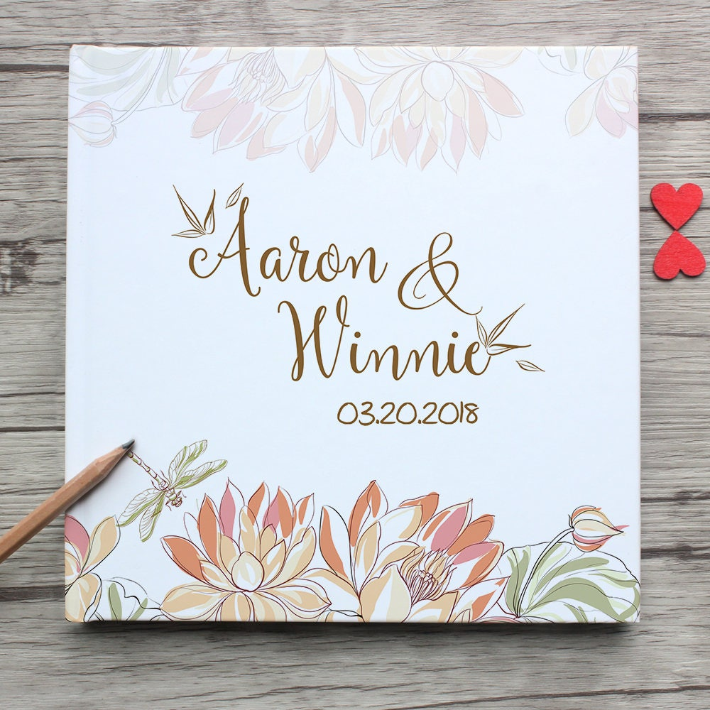 Custom White Wedding Guest BookPersonalized White Wedding