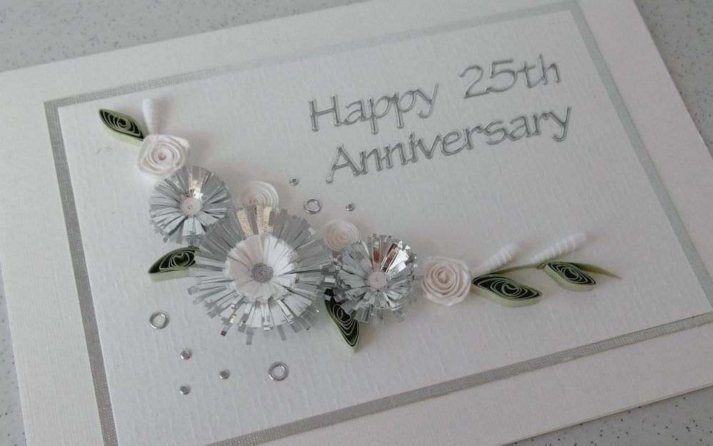 Quilled th silver wedding anniversary card handmade paper