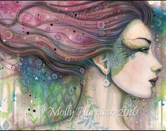 Original Painting - Julia- Abstract Fantasy Watercolor Face of Woman - Molly Harrison Fantasy Art - Mixed Media - Contemporary