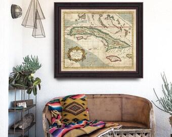 Cuba Antique Map 1763, Cuba Map, Jamaica Antique Map, Colorful Atlas Map, Vintage Marine Decor, Antique Map- CP093