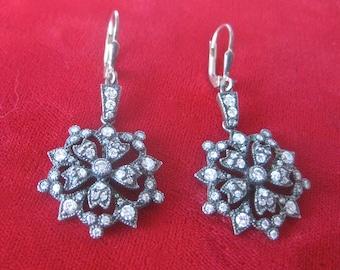 Pair of Antique Sterling Silver & Paste Earrings