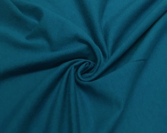 """Teal Cotton Jersey Lycra Spandex Knit Stretch Fabric 58/60"""" wide All colors"""