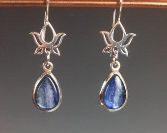 Blue Kyanite Earrings - Lotus Earrings - Sterling Earrings - Kyanite Jewelry - Blue Earrings - Lotus Jewelry - Blue Lotus