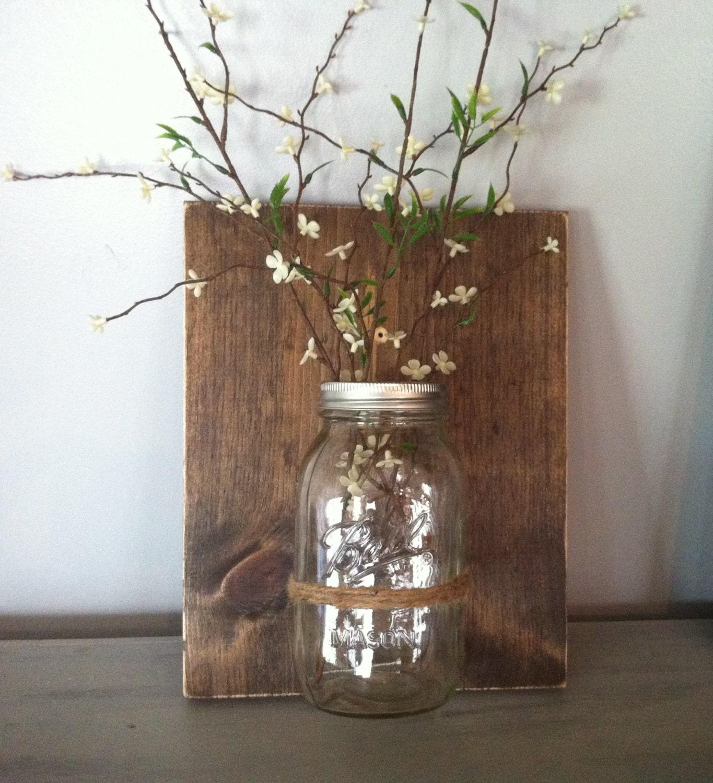Mason jar wall decor reclaimed wood ball jar wall vase zoom reviewsmspy