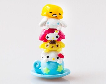 Polymer Clay Sanrio Inspired Magnetic Stackable Totem, Magnetic Figurines, Gudetama, Hello Kitty, Pompompurin, Cinnamoroll, My Melody