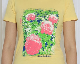 Banana Cream Four Color Floral Fitted Woman's Tee Extra Large