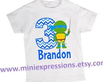 Teenage Mutant Ninja Turtle inspired Birthday Shirt Personalized