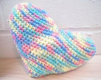 Rainbow Amigurumi Heart, Crochet Heart