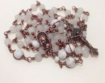 White Copper Rosary - Wire Wrapped Unbreakable Rosary