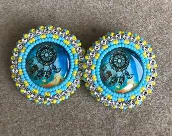 Bead Embroidered Earrings Native American Free Shipping Available