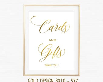 Gold Cards and Gifts Sign, Cards and Gifts Printable, Wedding Sign, Wedding Printable, Gold Wedding, Instant Download pdf 8x10 5x7 elegant