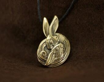 Two Bunnies Heart Couple Love bronze pendant necklace