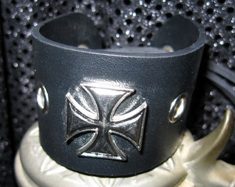 Iron Cross Leather Bracelet