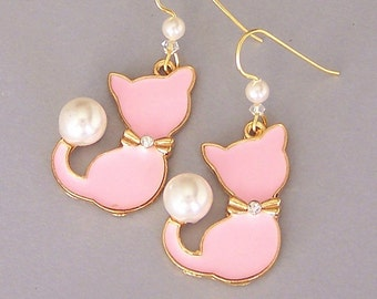 Pink cat earrings, pink enamel cat with white pearls drop earrings, birthday gift for her, present for animal lover