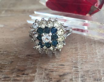 Vintage 18KT White Gold HGE Blue & Clear Rhinestone or CZ Ring.