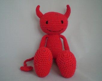 Crochet Devil PlushToy  /  Amigurumi Devil / Valentine Plush Toy / Crochet Amigurumi Devil Toy / He Devil Soft Toy /Crochet Devil Plush Toy.