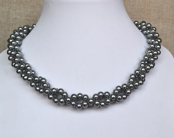 grey pearl necklace,party pearl necklaces,wedding necklace,bridesmaids necklace,glass pearls necklaces,gray pearl necklace,necklace,wedding