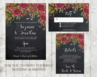 christmas wedding invitation, chalkboard wedding invitation, Printable wedding invitation set, winter wedding invitation suite, YOU PRINT