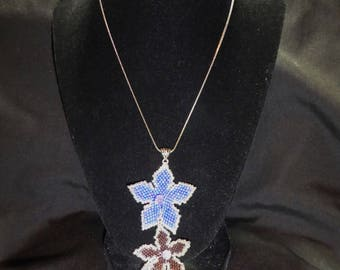 Blue and Purple Beaded Flower Necklace and Earring Set