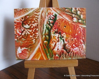Sale on ACEO Tangerine, Forest Green I Abstract Encaustic (Wax) Original Miniature Painting. SFA (Small Format Art)