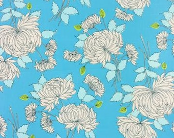 """Amy Butler Chrysanthemum Fabric in Blue, """"Belle"""" Collection, Out of Print, 100% Cotton Fabric by Rowan - Great for Quilting, Sewing!"""