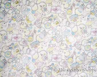 Kokka Teddy Bears Fabric ~ Japanese Fabric ~ Double Gauze Fabric ~ 100% Cotton ~ Kids Fabric ~ Apparel Fabric ~ Quilting ~ Home Decor Fabric
