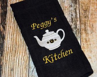 Personalized Kitchen Towel - Teapot Towel - Hostess Gift - Tea Towel - Monogrammed Housewarming Gift