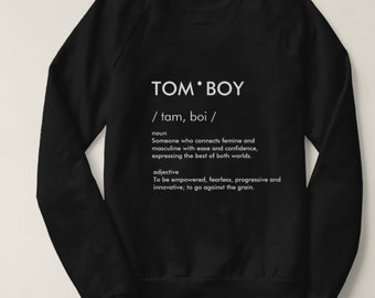 Tom Boy Definition Long Sleeve Oversized Crew neck Jumper