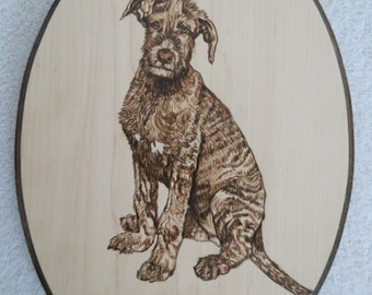 Pet Portrait Pyrographic Art Wall Plaque Made to Order Irish Wolfhound Brindle Pup by Shannon Ivins Pigatopia