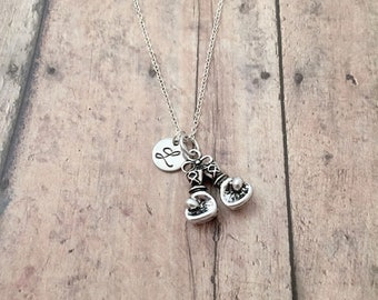 Boxing gloves initial necklace - boxing gloves jewelry, MMA jewelry, kickboxing necklace, gift for boxer, silver boxing pendant, boxing gift