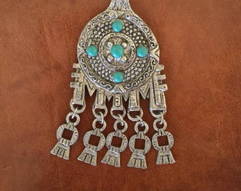 Vintage Silver and Turquoise Pendant Mexican Aztec Style Large