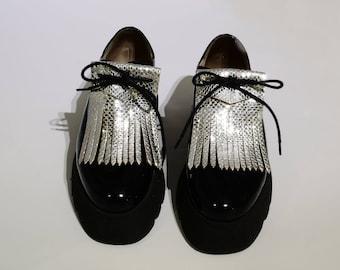 Fringe leather silver fancy shoe laces