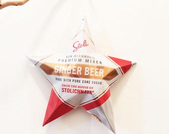 HUGE Stoli Stolichnaya Ginger Beer Star, Christmas Ornaments Aluminum Can Upcycled non Alcoholic Premium Mixer with cane sugar Moscow Mule