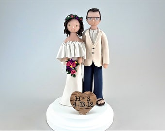 Personalized Bride & Groom Traditional Wedding Cake Toppers by MUDCARDS