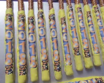 Graduation dipped in chocolate pretzels rods 24
