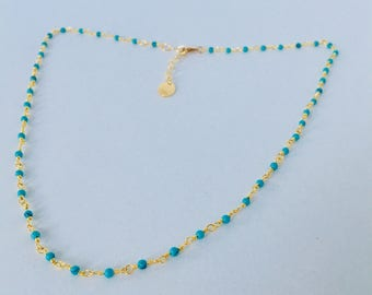 Choker necklace with beaded chain turquoise gold plated 24 k