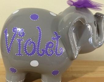 Personalized Large Purple/ Violet  Gray elephant Piggy Bank Newborns , Birthday,Girls,Flower Girl,Baby Shower Gift Centerpiece