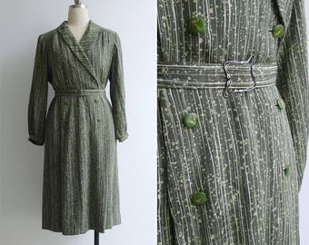 Vintage 70's 'Green Bamboo' Silky Double Breasted Dress L or XL