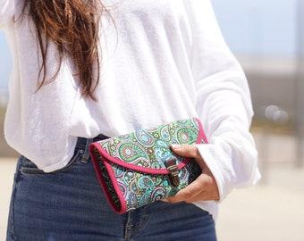 Grand portefeuille femme, portefeuille à soufflets, portefeuille accordéon, pochette à main, portefeuille attache cartable, tissu ethnique