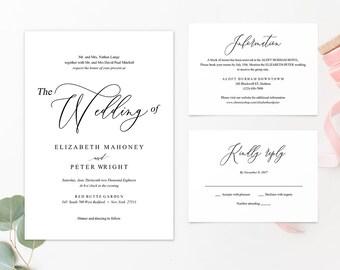 WI005 : Wedding Invitation Template, Invitation Set, Editable Wedding Invite,Vintage Wedding Invitation Printable
