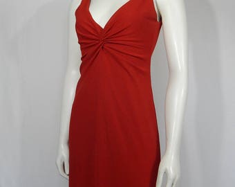 Vintage Red Formal Small S 6 90s Nineties Column Dress Sleeveless V Neck Low Back Laundry by Shelli Segal 1995 Jersey Knit Made in USA Prom