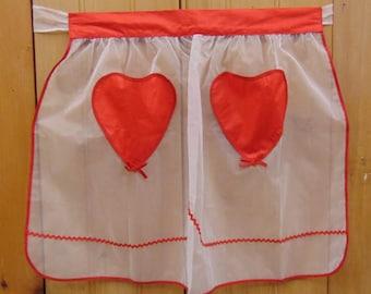 Fancy Organdy Apron, Red Heart Pockets