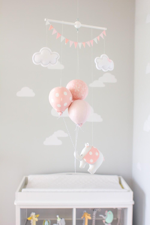 PInk Elephant Baby Mobile Mädchen Kinderzimmer Dekor rosa