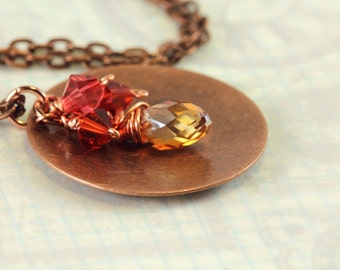 Copper and Crystal Pendant, Hammered Copper Disc, Copper and Crystal Necklace, Swarovski Crystals