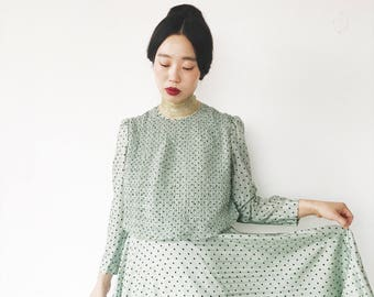 Laurel green with chocolate dots, vintage dress, Japan, xs - small