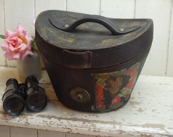 Antique Top Hat Leather box - Top Hat Box  - Antique Top Hat box  -Leather Top Hat box - Top Hat Storage Box - Leather Hat Box - Hat Box